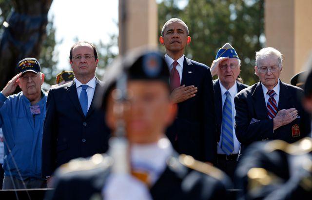 Hollande et Obama au cimetière américain de Colleville-sur-Mer (Calvados)