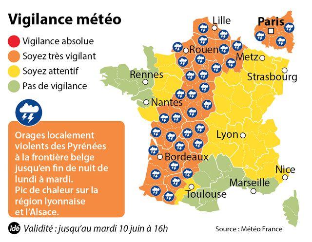 Les 39 départements en vigilance orange