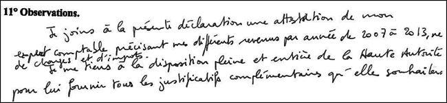 Jean-François Copé se tient à disposition de la Haute Autorité pour plus d'informartions sur sa déclaration