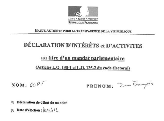 Déclaration d'intérêt et d'activité J-F Copé