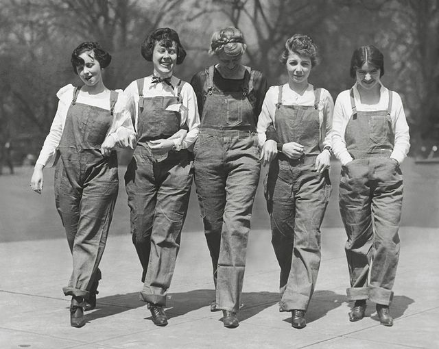 Congressional Secretaries in overalls