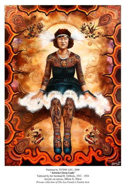 """Artoria Circus Lady"" Tattooed by her husband R. Gibbons,1921-1924 Acrylic on canvas, 200 cm x 150 cm"
