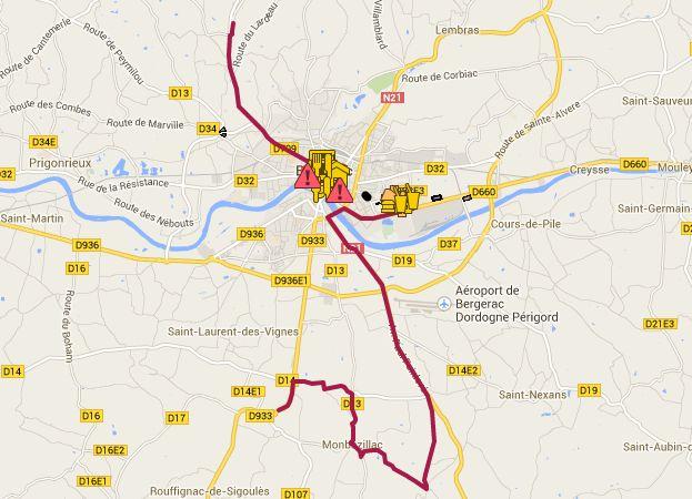Routes coupées et parkins disponibles à Bergerac.