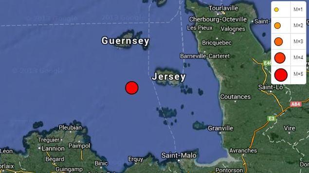 L'épicentre du séisme entre la Bretagne et la Normandie - saisie d'écran