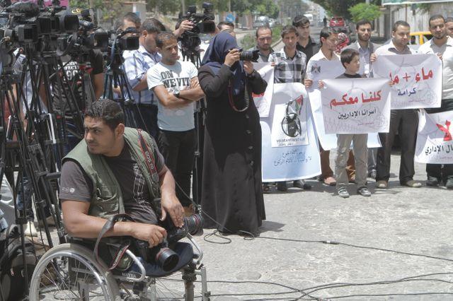Moomen photographie une manifestation pour les prisonniers palestiniens