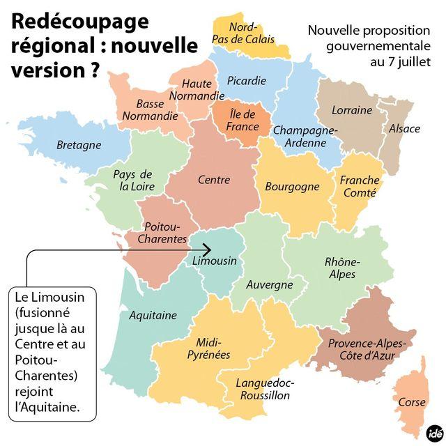 Nouvelle version de la carte des régions du 7 juillet.