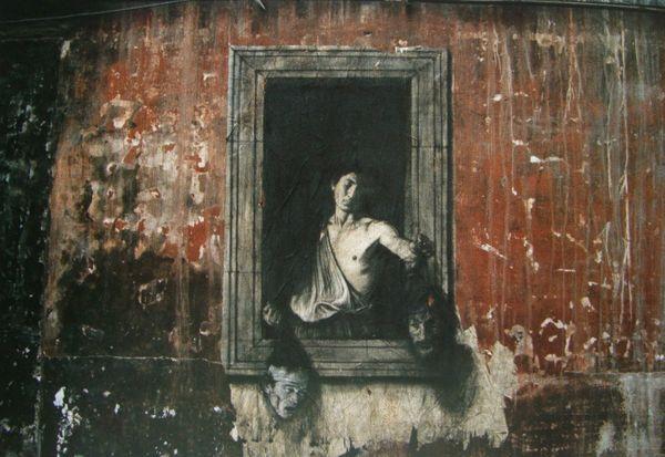 Une oeuvre d'Ernest Pignon-Ernest dans les rues de Naples
