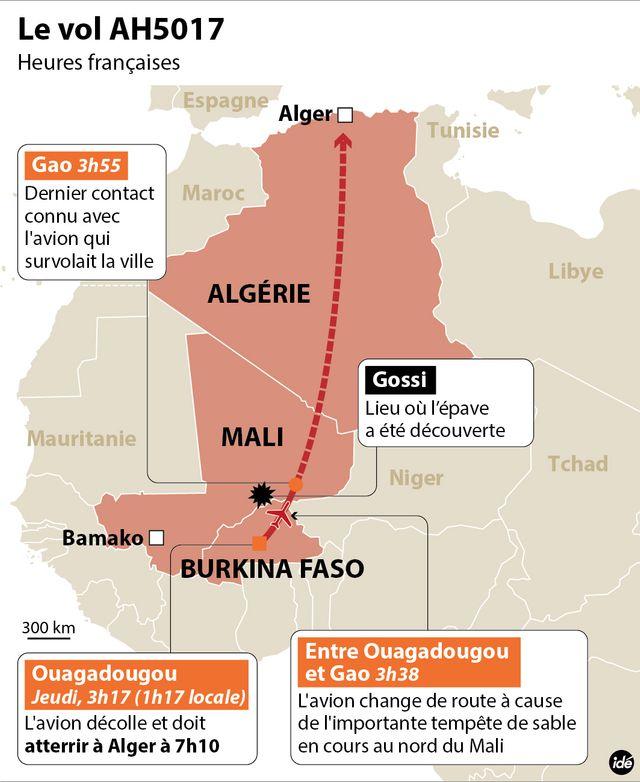 L'épave de l'avion d'Air Algérie localisée au Mali