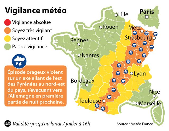 Météo-France place 22 départements en vigilance orange