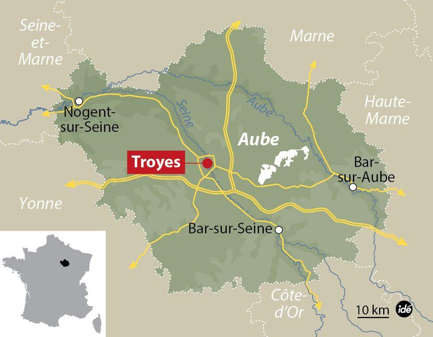 Carte de localisation de Troyes (Aube)