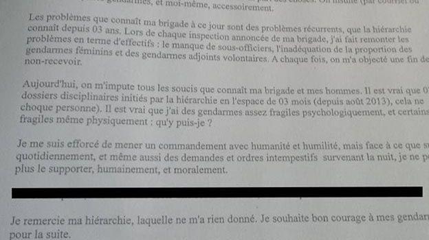 La lettre de Grégory Girard publiée par l'association Gendarmes et citoyens.
