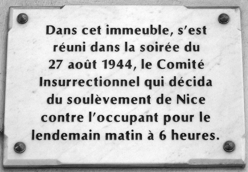 Plaque commémorative située au 20 boulevard de Cessole à Nice
