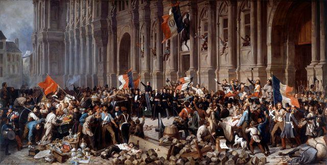 Lamartine rejetant le drapeau rouge à l'Hotel de ville de Paris, 1848, par Henri Felix Philippoteaux