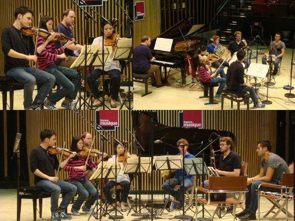 Jonas Vitaud (piano), Omer Bouchez (violon), Elise Liu (violon), Yung-Hsin Chang (alto), Amaury Viduvier (clarinette), Maxime Tomba (cor) & Rafaël Angster (basson) © Flora Sternadel