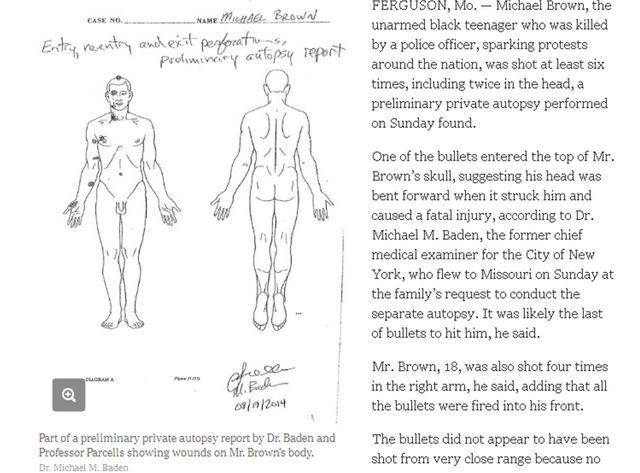 Le New York Times publie des extraits de l'autopsie préliminaires ce dimanche.