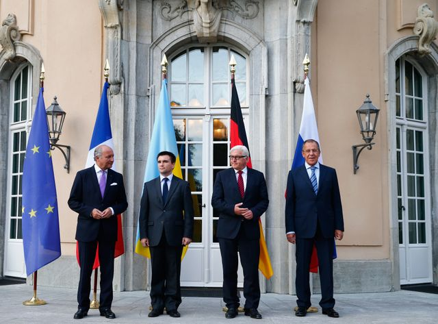 Laurent Fabius, Pavlo Klimkin, Frank-Walter Steinmeier, Sergei Lavrov à Berlin