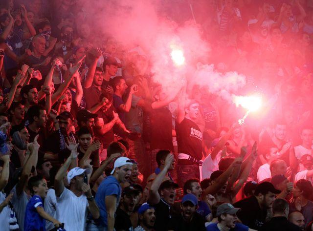 Dans les tribunes du stade Armand Cesari de Furiani, pendant le match Bastia-OM.