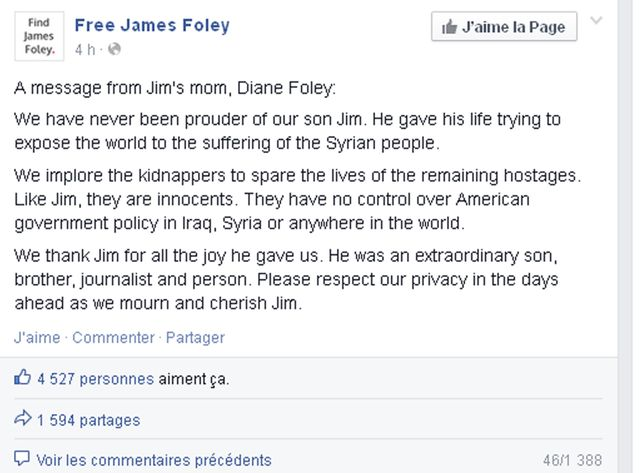 Le post Facebook du comité de soutien de James Foley, relayant le message de la mère du journaliste (copie d'écran).