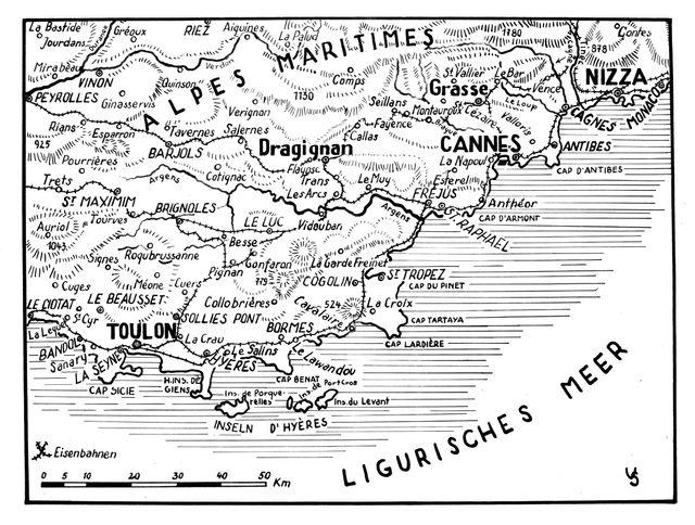 Une carte de l'armée allemande en août 1944, figurant les combats et les différents points de débarquement des Alliés.