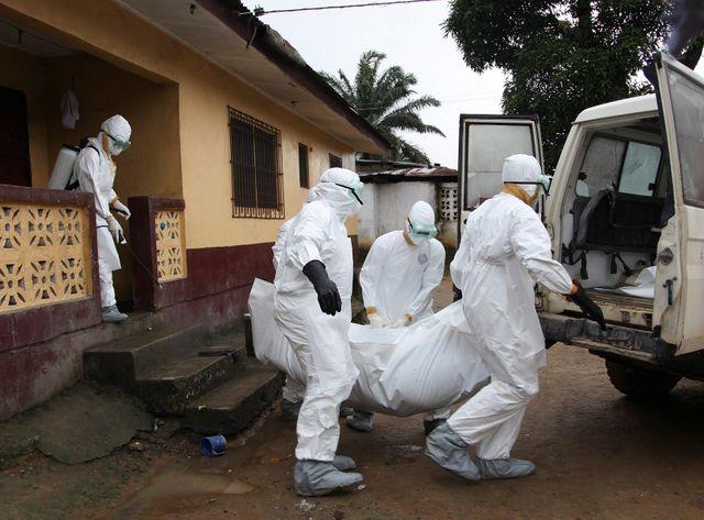 Des infirmiers libériens emportent un corps le 8 août, à Monrovia.