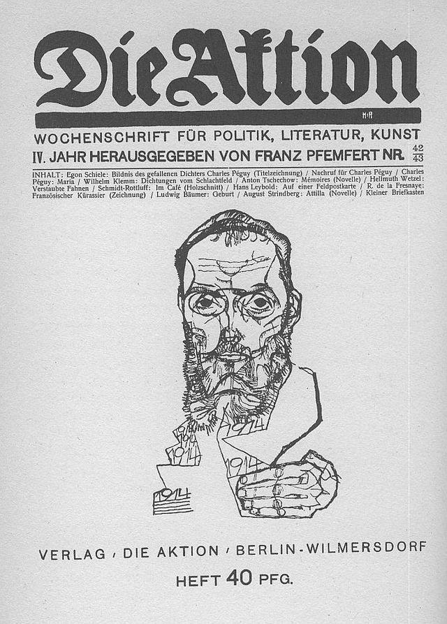 """Charles Péguy dessiné par Egon Schiele sur la couverture de la revue """"Die Aktion"""" en 1914"""