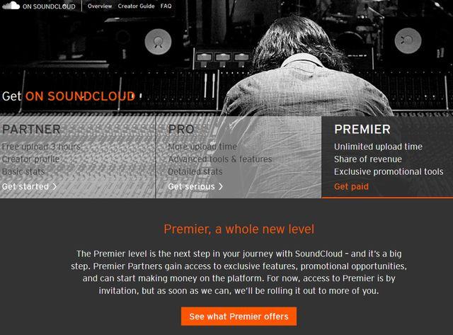 Le nouveau service On Soundcloud (copie d'écran)
