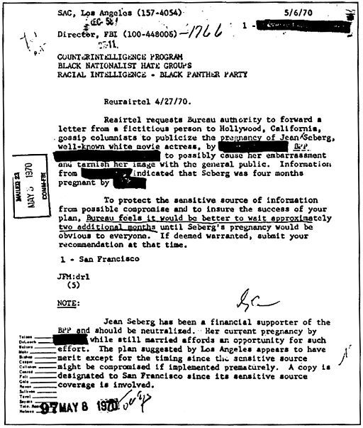 A COINTELPRO document outlining the FBI's plans to 'neutralize' Jean Seberg for her support for the Black Panther Party, 1970