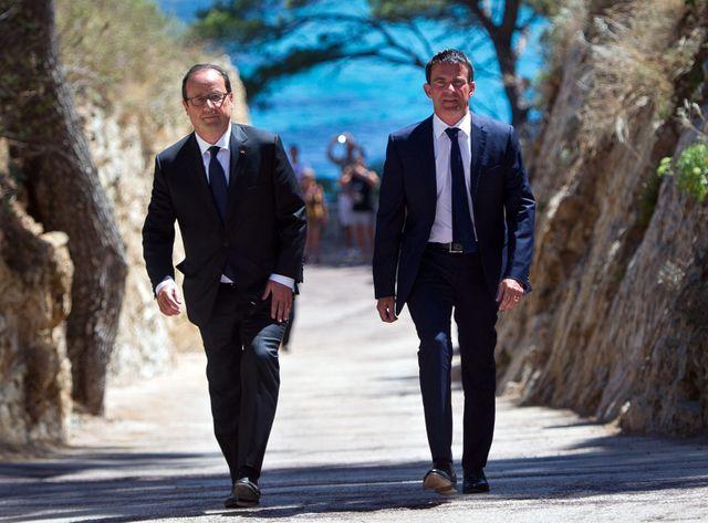 François Hollande et Manuel Valls à Brégançon le 15 août 2014