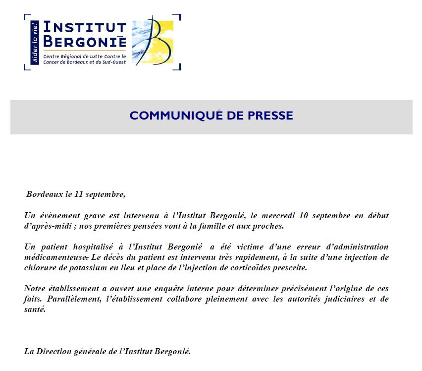 Communiqué de presse de l'institut Bergonié