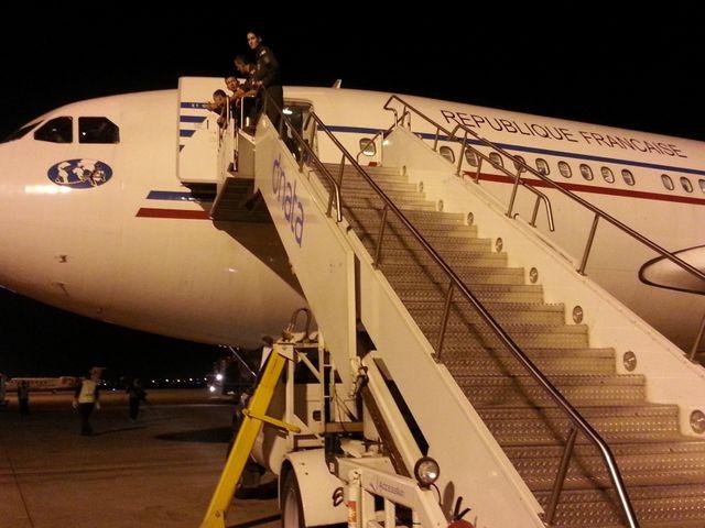 Les 150 réfugiés se sont envolés pour la France dans cet avion