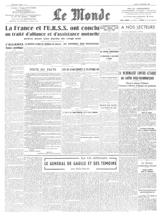 Premier numéro du journal « Le Monde » daté du 19 décembre 1944