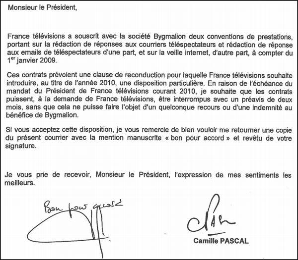 La lettre de Camille Pascal à Bygmalion (2)