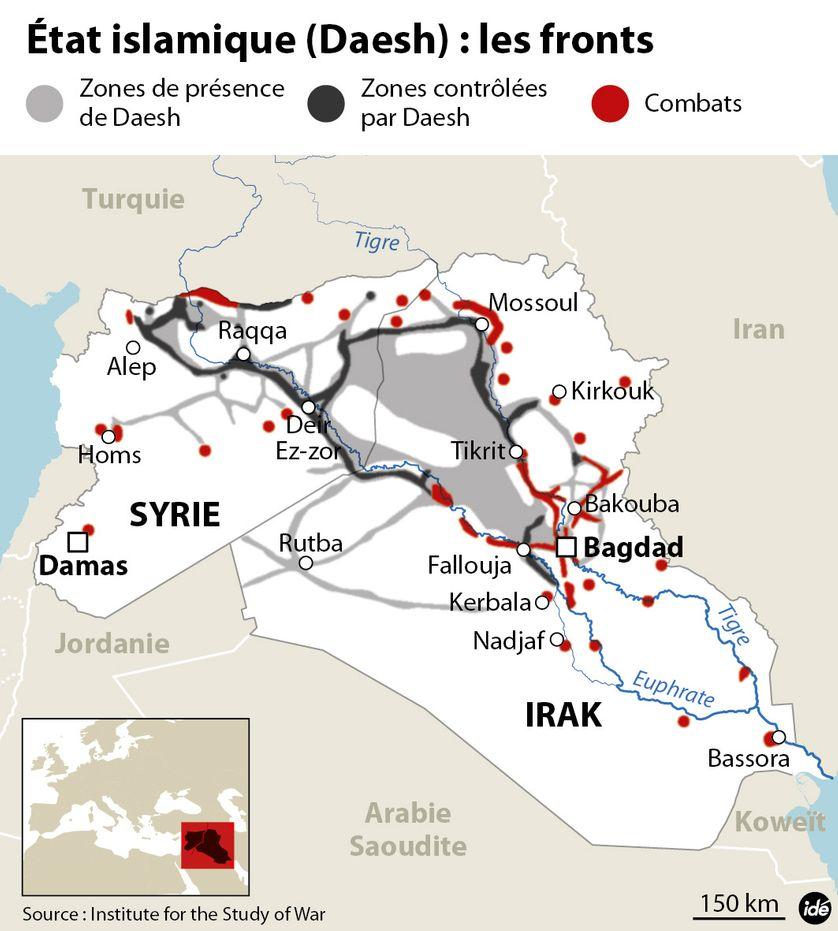L'Etat islamique en Irak et en Syrie (Les positions mi-septembre)