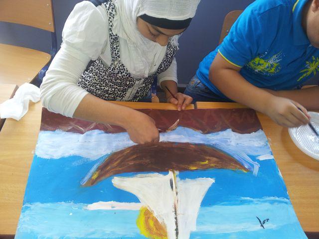 Classe d'élèves syriens réfugiés au Liban