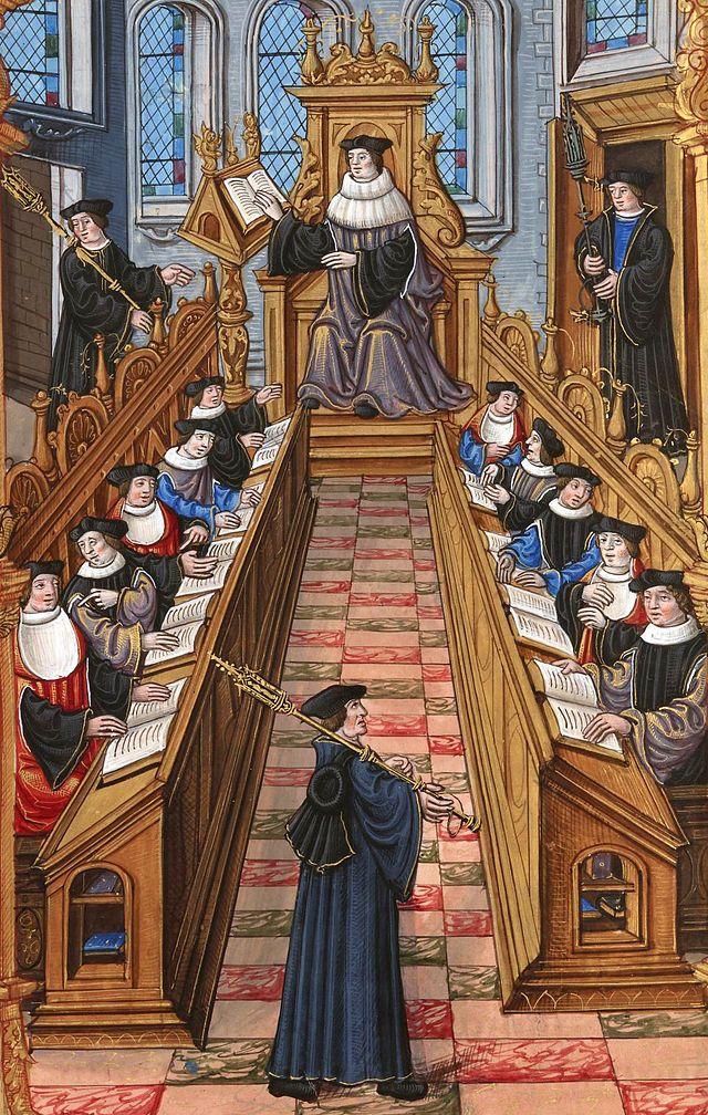 Réunion de docteurs à l'université de Paris durant le Moyen Âge