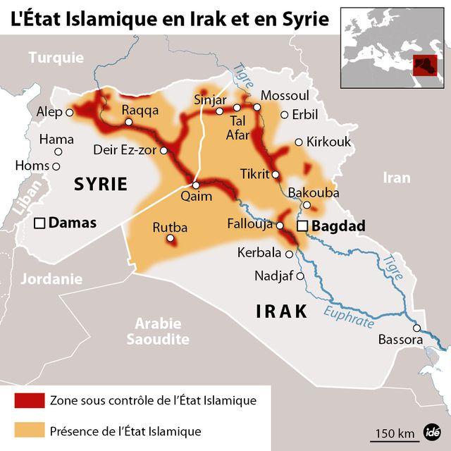 La présence de l'État islamique en Syrie et en Irak