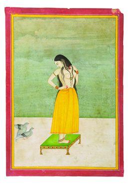 Jeune femme sur une table basse observant les ébats d'un couple de pigeons Jaipur, Rajastan, XIXe siècle