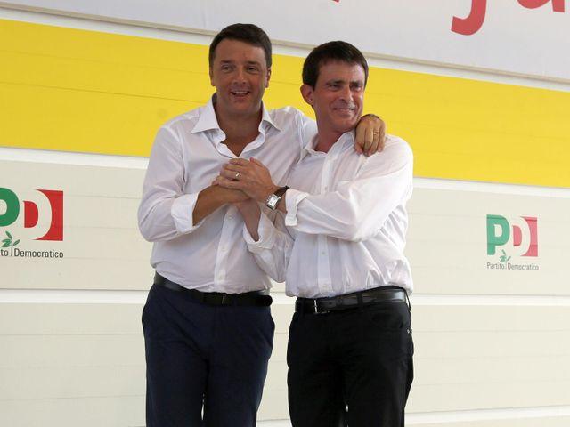 Manuel Valls aux côtés de Matteo Renzi, chef du gouvernement italien de centre-droit