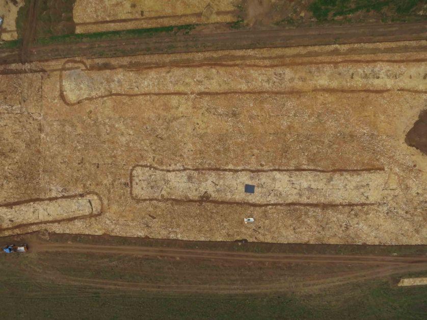 Vue aérienne de la fouille de Fleury-sur-Orne