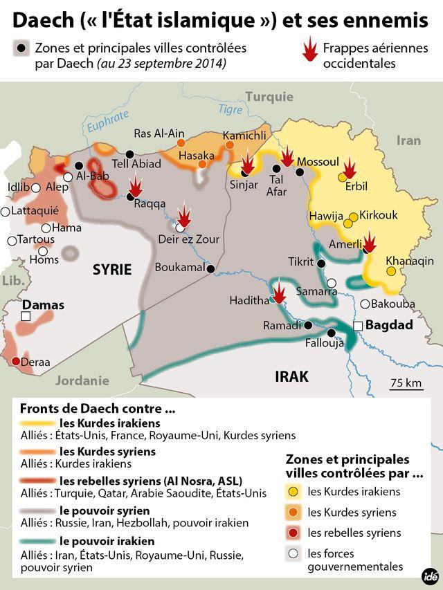 Les fronts et les frappes contre l'Etat islamique