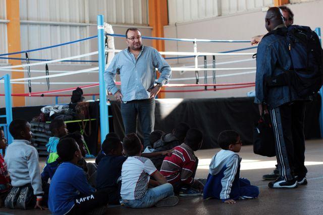 Christophe Tiozzo dans son académie, à Villiers-le-Bel