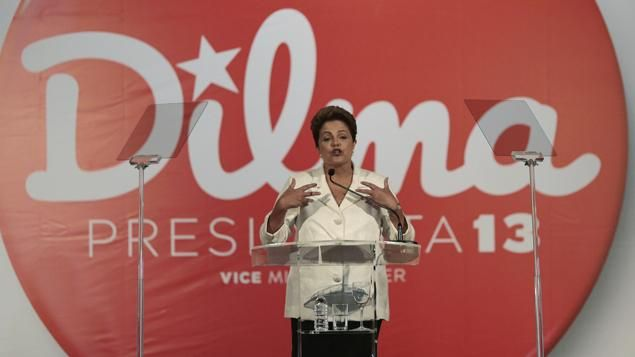 Dilma Rousseff lors de sa victoire au premier tour