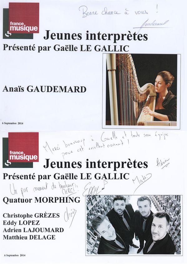livre d'or Génération jeunes interprètes du 06-9-2014