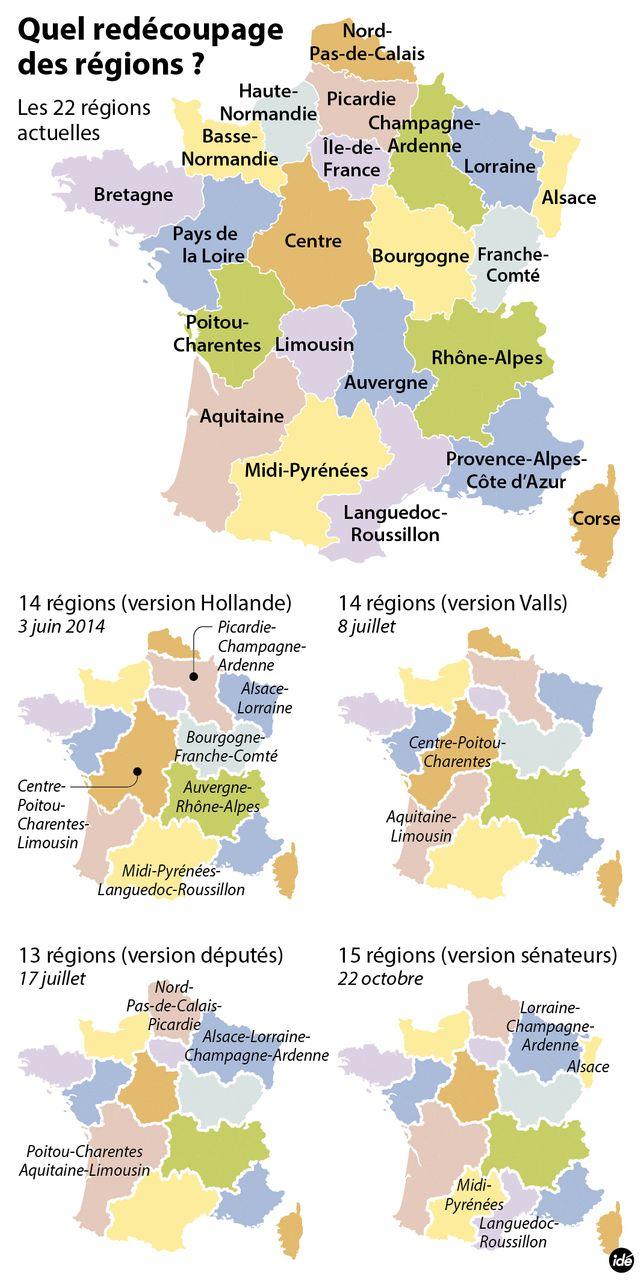 La carte des régions et ses versions successives