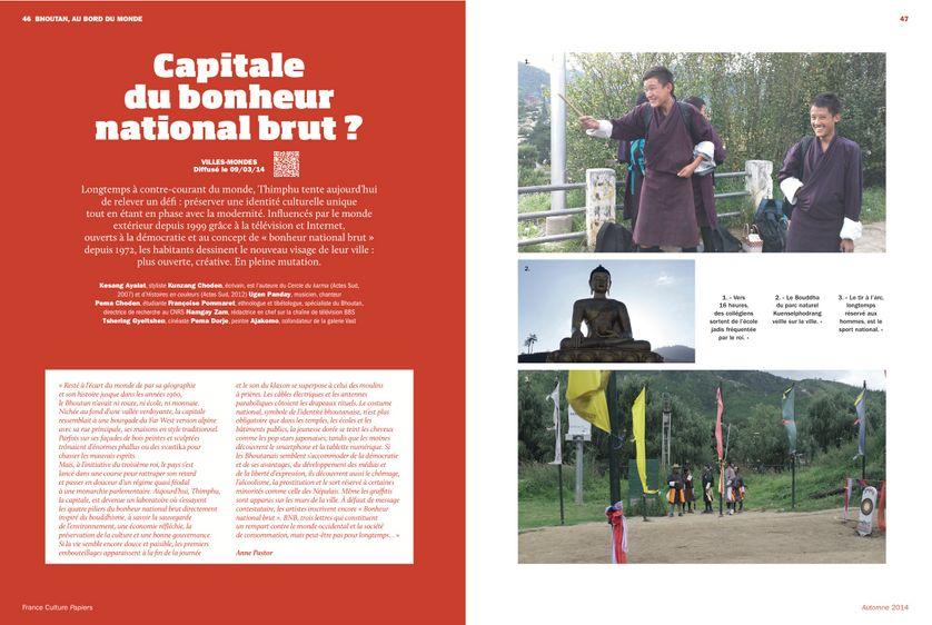 Thimphu horizons nouveaux, capitale du Bonheur National Brut? Page 46 France Culture Papiers n°11