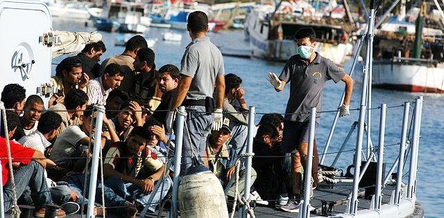 Migrants en provenance de l'île de Lampedusa, août 2007