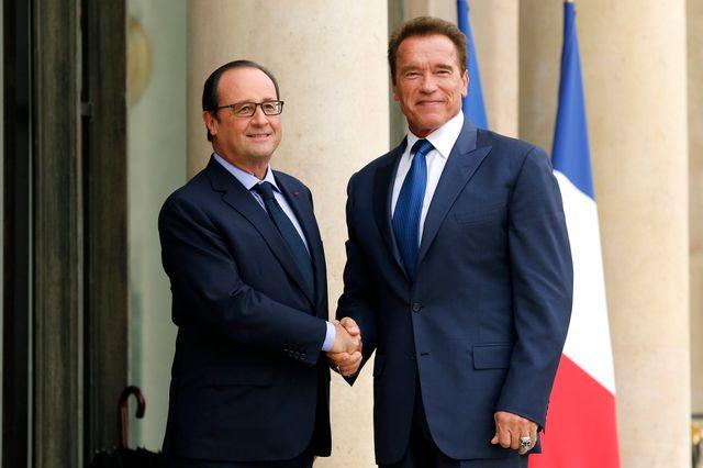 François Hollande et Arnold Schwarzenegger à l'Élysée