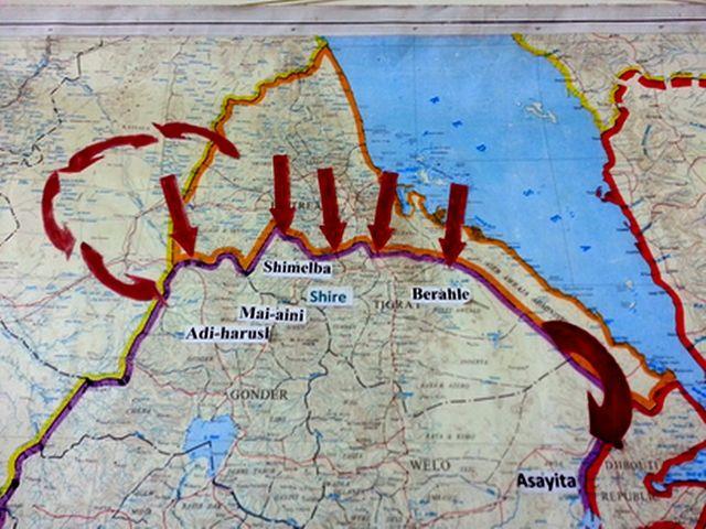 Carte des mouvements de population vers l'Ethiopie