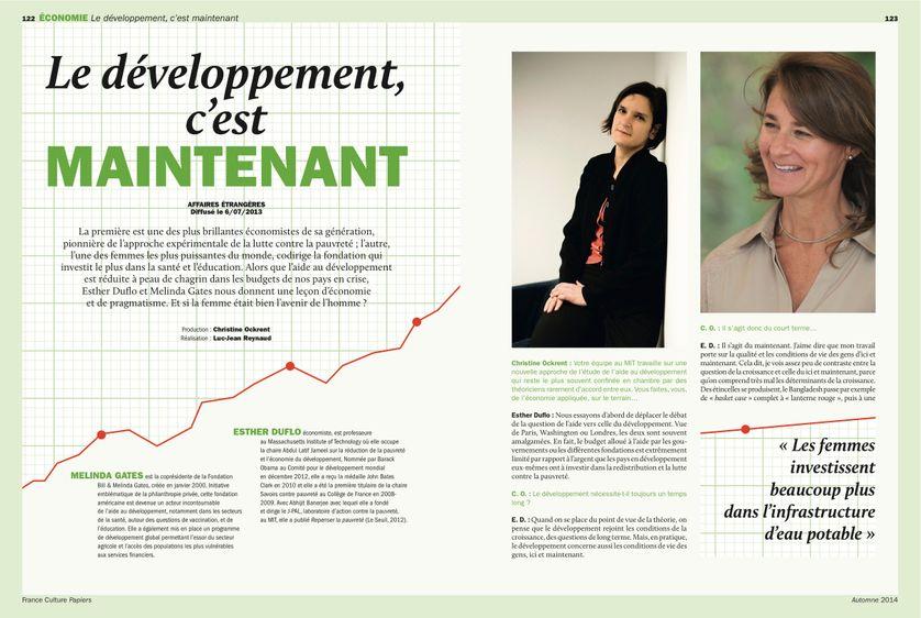 Esther Duflo, page 122 France Culture Papiers n°11