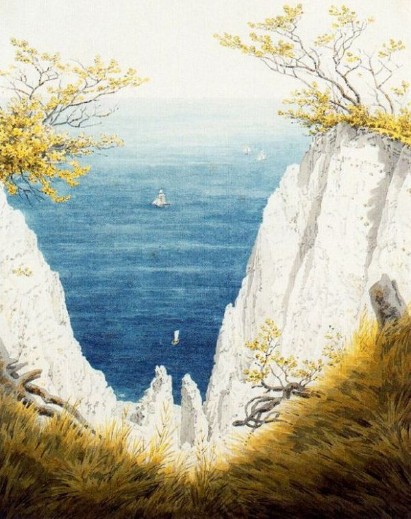 """Caspar David Friedrich, 'Falaises de craie sur l'Ile de Rügen"""" (aquarelle et crayon sur papier, 1824)"""